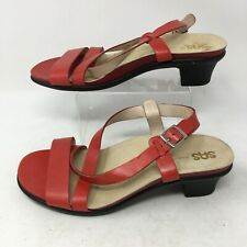 Sas Slingback Strappy Sandals Casual Low Heels Open Toe Leather Red Womens 9