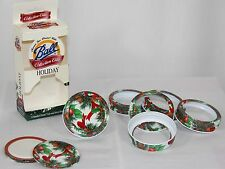 Set 6 Ball Holiday Pine Holly Standard Dome Lid Screw Bands Collection Elite Jar
