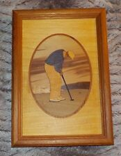 """Hudson River Inlay golfer putter wood marquetry, 6"""" x 9"""", 11 different woods"""