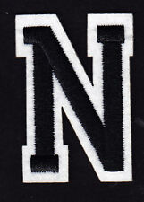 """LETTERS -  2"""" Black & White Letter  """"N""""  - Iron On Embroidered  Applique"""