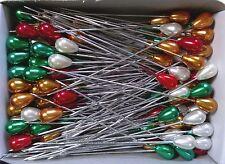 "2.5"" TEARDROP Pearl Corsage Pins CHRISTMAS COMBO"