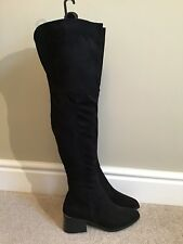 New Look Sexy Long Black Suede Over The Knee Thigh High Heels Boots Size 8/42