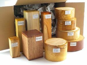 Woodturning bowl & spindle blanks gift selection box. Mixed sizes and species 35