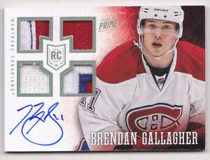 13-14 Panini Prime Brendan Gallagher 1/25 Auto PATCH Strap Rookie Canadiens 2013