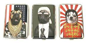 PETS ROCK DOG DESIGN CIGARETTE METAL HINGED CASE HOLDER - 3 DESIGNS
