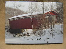 Covered Bridge Canvas Painting Snow Winter Trees Side View