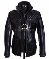 Franco Black Men's New Retro Casual Real Waxed Quilted Leather Safari Jacket