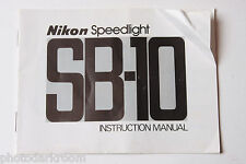Nikon SB-10 Speedlight Flash Instruction Manual Book Owners Guide Eng - USED B50