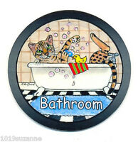 Bengal cat art sign bathroom door from original painting by Suzanne Le Good