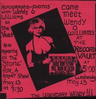 WENDY O. WILLIAMS / PLASMATICS 1987 AT THE STONE 1st PRINTING FLYER / HANDBILL