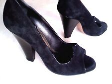 ZAC POSEN Women's 8 M Solid Black Suede Peep Toe Hidden Platform Pumps Italy