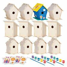 12 Wooden Birdhouses - Crafts for Girls and Boys - Kids Bulk Arts and Crafts Set