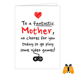 MOTHER'S DAY CARD 001 - greeting gaming retro gamer nintendo playstation xbox pc