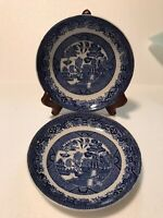 """2 Vintage W. Adams and Sons England Staffordshire Blue Willow 6.5"""" saucer bowls"""