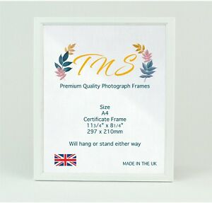 A4 Photo Frame, Certificate Poster Picture Frames White Made in UK Fast Dispatch