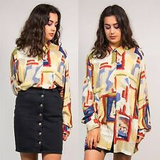 90'S PATTERNED VINTAGE WOMENS SHIRT BLOUSE ART PAINTING ABSTRACT MULTICOLOUR 18