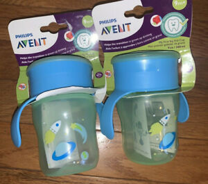 2 Philips Avent My First Big Kid Cups Space Ship Blue Green 9 oz SCF782/53 NEW