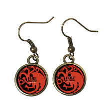 GAME OF THRONES HOUSE OF TARGARYEN 3 HEAD DRAGON CABOCHON EARRINGS + POUCH / OX
