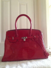 Red Dune Patent Croco Bag