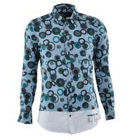 DOLCE & GABBANA GOLD Shirt Blue Green Chemise Bleu Vert 03374