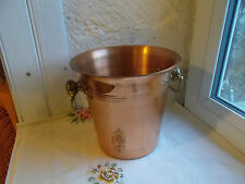 French copper ice champagne bucket solid brass handles