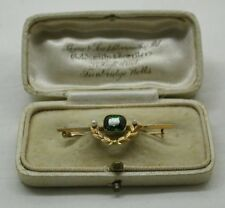 Beautiful Antique 15 Carat Gold Green Tourmaline And Pearl Bar Brooch Boxed