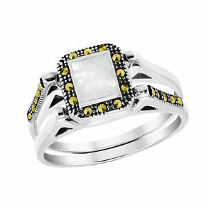 Vintage Rectangular Sea Shell Marcasite Embed Sterling Silver Double Band Ring-8