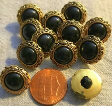 """12  Domed Gold Tone PLASTIC Black Center Shank Buttons 9/16"""" 15MM Lot # 2761"""