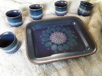 6 Eierbecher & Tablett Set Keramik wohl handgemacht 70er Vintage günstig & schön