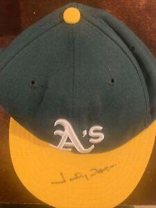 Johnny Damon Signed Oakland A's Baseball Cap Fleer Legacy