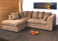 DYLAN JUMBO CORD COFFEE/BISCUIT FABRIC CORNER GROUP SOFA L/H