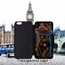 Black Cat Salem Witches Hat Leather Flip Wallet Phone Case Cover