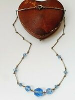 """Vintage 16.5"""" Czech Blue Glass Faceted Bead Wire Necklace"""