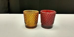 Pair of Vintage Red & Amber Hobnail Glass Votive Candle Holders