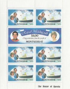 (74867) Montserrat MNH Princess Diana Royal Wedding minisheet 1981