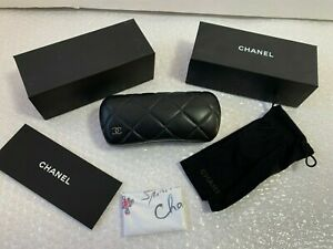 Chanel Case Sunglasses Black Authentic W Quilted Box Cc Logo Italy Small Case CC