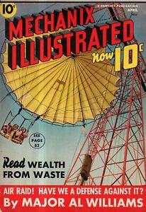 1939 Mechanix Illustrated April - World's Fair thrill rides; Air Raids;Chemistry