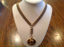 Antique Victorian Edwardian Gold Filled BookChain w/Repousse Lady Jeweled Locket