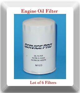 Lot 6x Oil Filter Service Pro M123 Fits Buick Cadillac Chevrolet GMC Oldsmobile