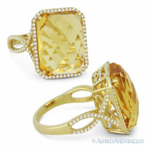 Details about  /3.16 Ct Round Cut Yellow Citrine Ring 14K Gold Over