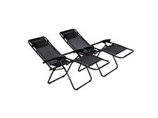 Premium Reclining Set of 2 Sun Lounger Outdoor Garden Patio Folding Deck Chairs