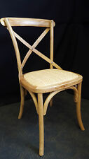 NEW FRENCH PROVINCIAL INDUSTRIAL WOODEN OAK CROSS BACK CHAIR DINING - NATURAL