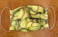 Fabric Face mask Handmade Washable Reusable Softball Fabric Cotton Elastic