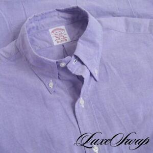#1 MENSWEAR Brooks Brothers Made in USA Lilac Garland Oxford Cloth OCBD Shirt 16