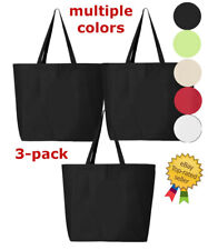 3-pack Jumbo Tote Large Shopping Bag Reusable Grocery Eco Storage 100% Cotton