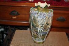 Antique Japanese Asian Pottery Vase Farm House Trees Raised Flowers