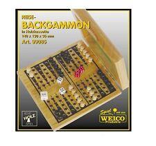 Weico Reise Holz Backgammon in Holzkassette 140 x 130 x 32 mm