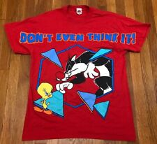 VTG 90s Looney Tunes Tweety Bird Sylvester All Over Print Big Graphic T-shirt L