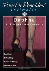 """Daphne"" - fishnet pantyhose with back seam and bow design at back bottom calf"