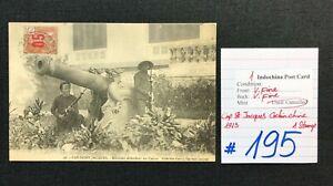 Indochina Post card, 1 Used, Miliciens defendant un Canon, RARE!! 1913, #195